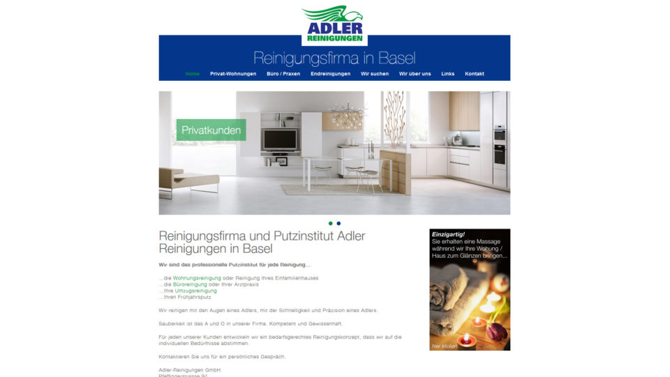 Webdesign Basel für Adler Reinigungen Basel
