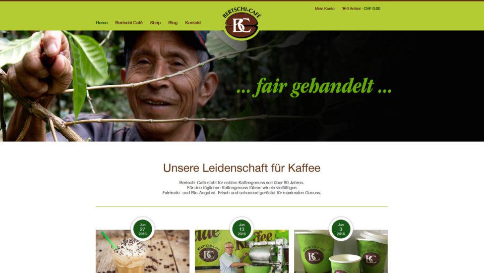 Webdesign für Bertschi Kaffee Basel