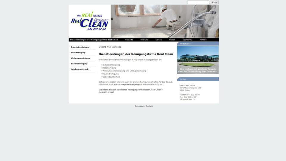 Webdesign für Realclean.ch